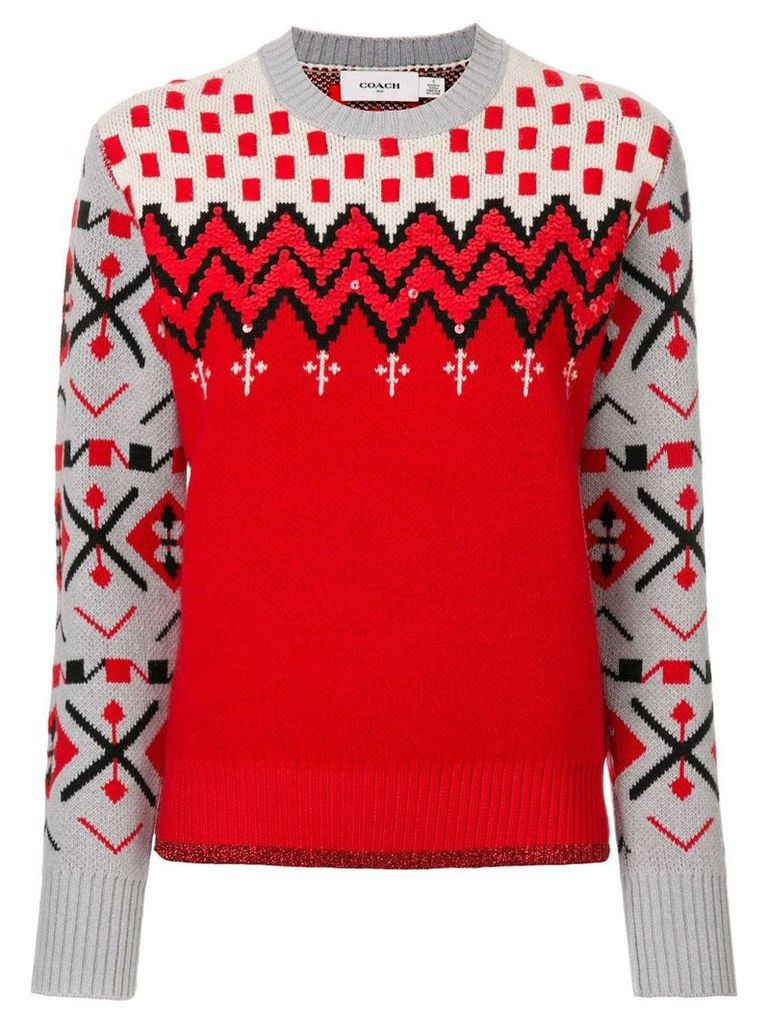 Coach patterned jumper - Red