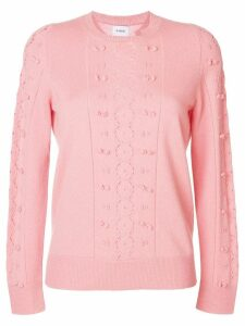Barrie Fluttering Lace cashmere round neck pullover - Pink