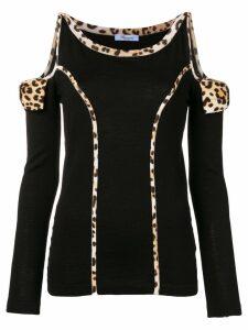 Blumarine leopard print trim sweater - Black