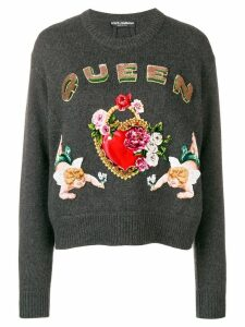 Dolce & Gabbana intarsia knit embellished sweater - Grey