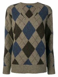 Polo Ralph Lauren V-neck argyle sweater - Grey