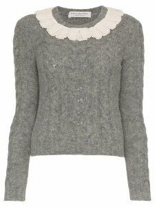 Philosophy Di Lorenzo Serafini Lace collar wool-blend sweater - Grey