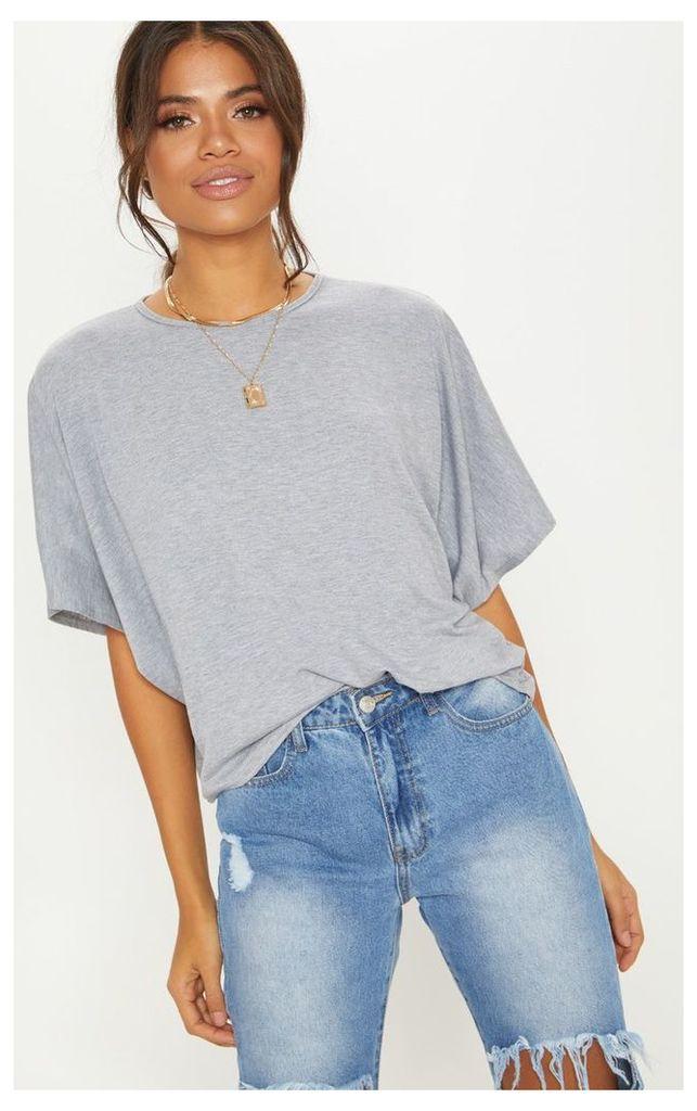 Basic Grey Jersey Batwing T shirt, Grey