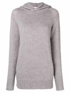 Ma'ry'ya hooded fine knit sweater - Grey