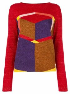 Bottega Veneta geometric patterned jumper - Red