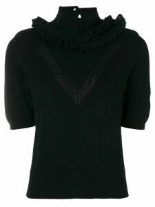 Barrie Flying Lace cashmere turtleneck top - Black