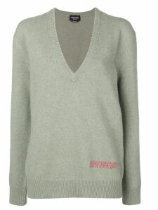 Calvin Klein 205W39nyc plunge neck oversized sweater - Green