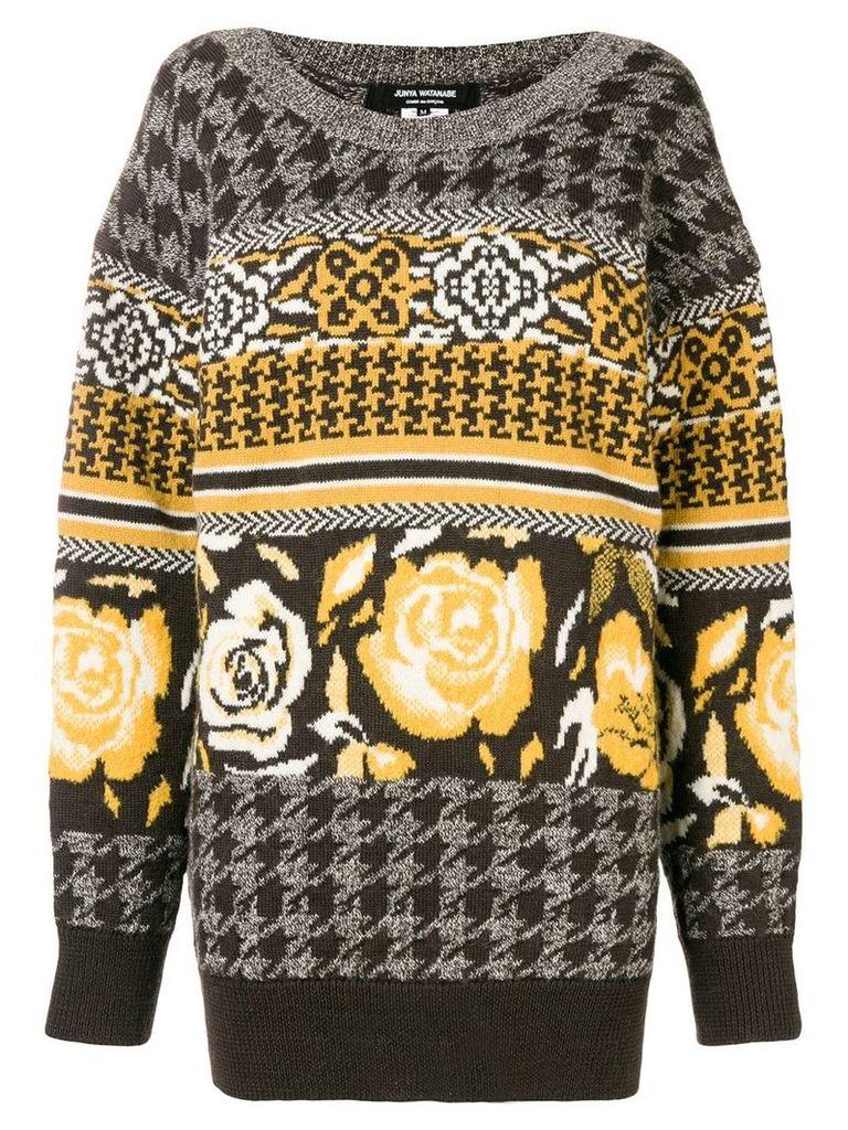 Junya Watanabe jacquard knit sweater - Brown