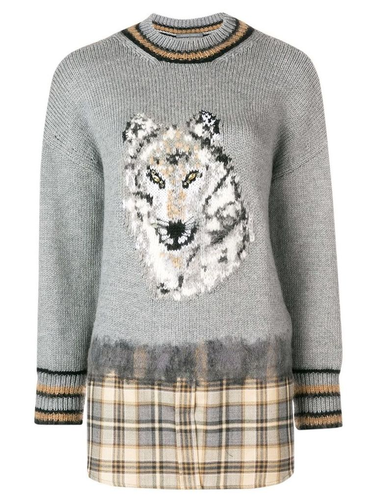 Alberta Ferretti woolf pattern sweater - Grey