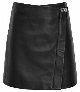 Reiss Fenella - Turn Lock Leather Mini Skirt in Black, Womens, Size 14