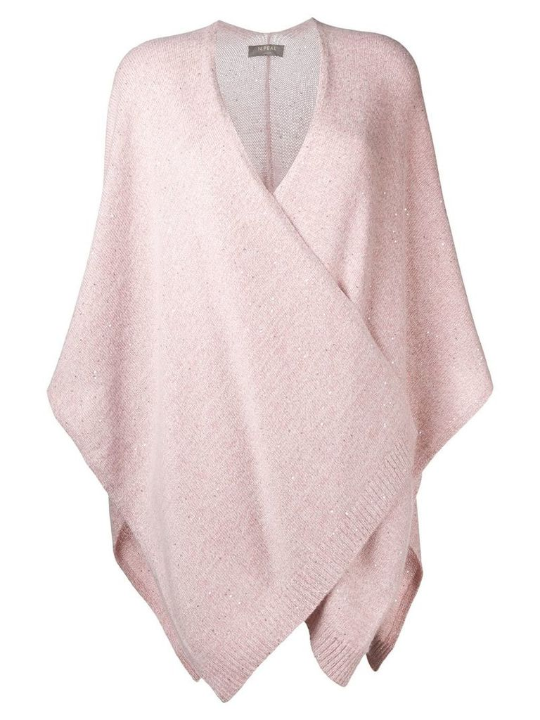 N.Peal Waterfall knitted cape - Pink