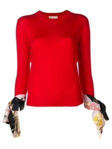 Emilio Pucci silk trimmed tie cuff knit top - Red