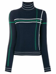 Carven striped high neck knit sweater - Blue