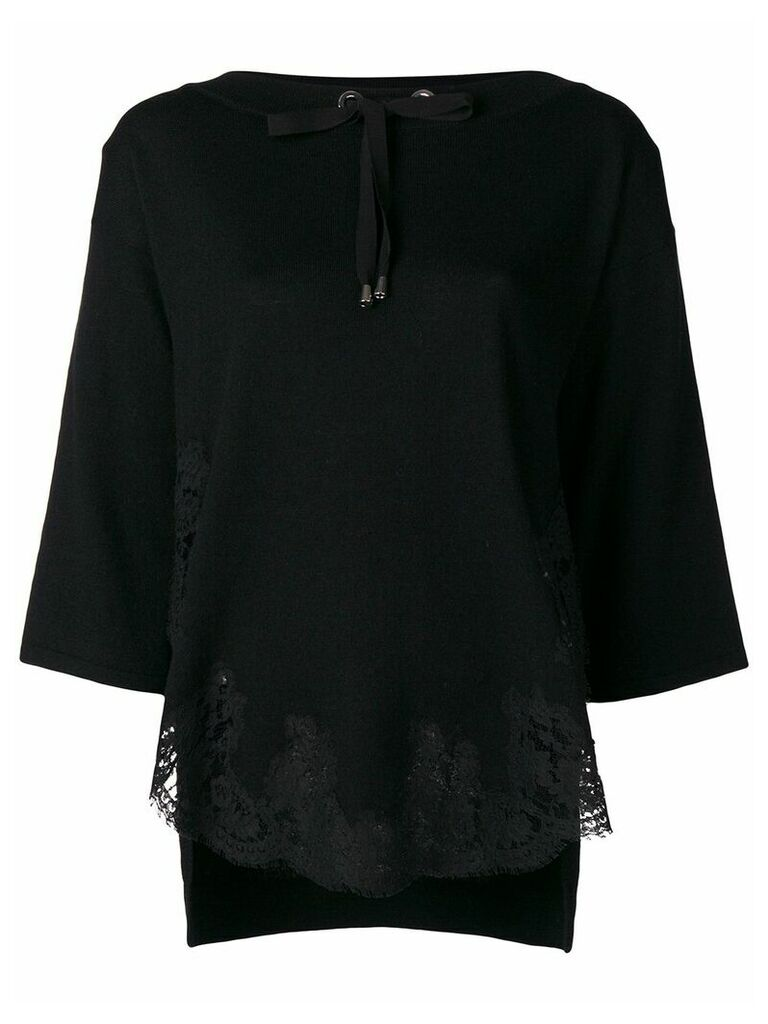 Ermanno Ermanno lace trim top - Black