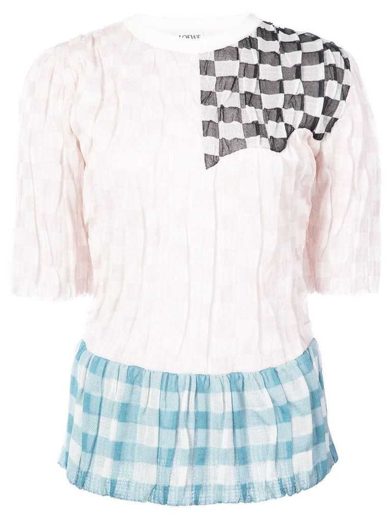 Loewe patchwork knit shortsleeved top - Pink