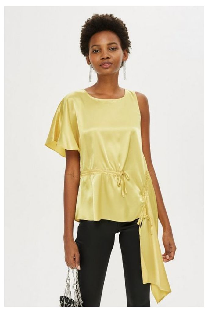 Womens Satin Asymmetric Blouse - Chartreuse, Chartreuse