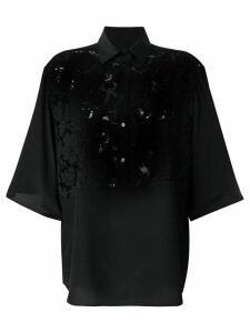 Valentino lace panel oversized blouse - Black