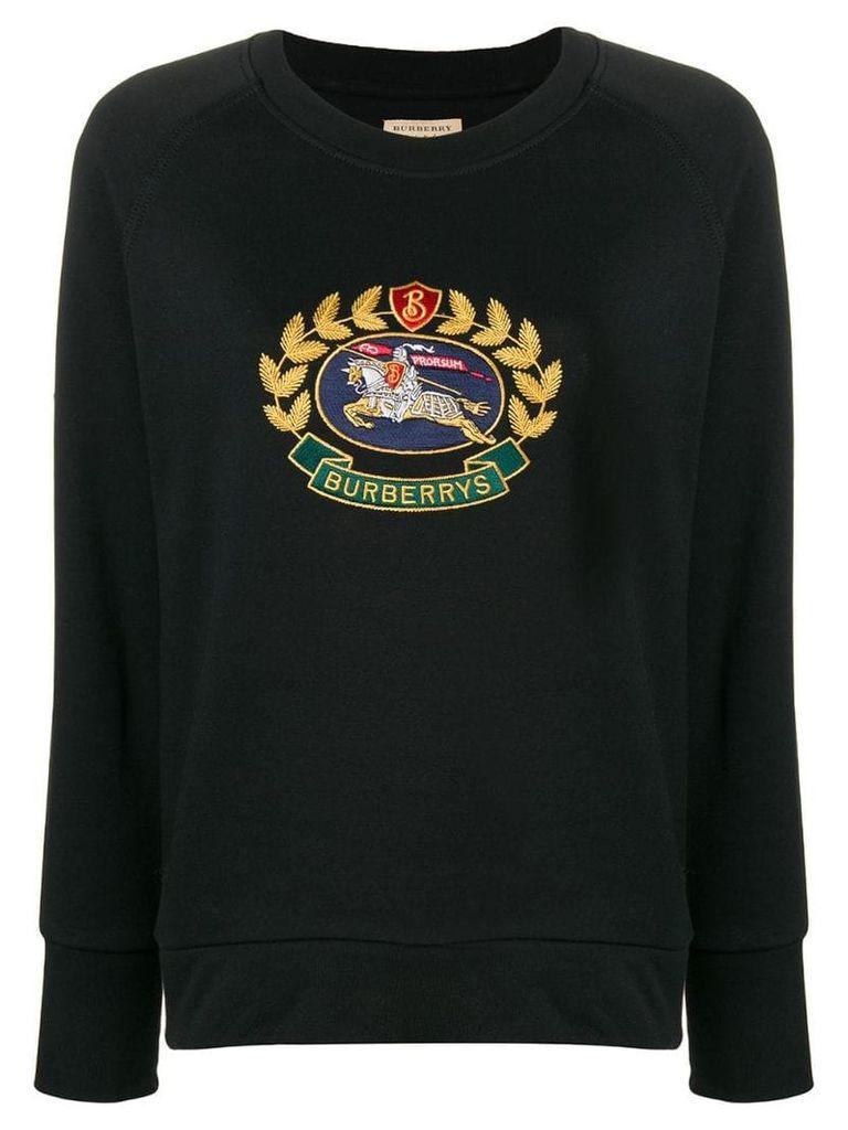 Burberry Embroidered Archive Logo Sweatshirt - Black