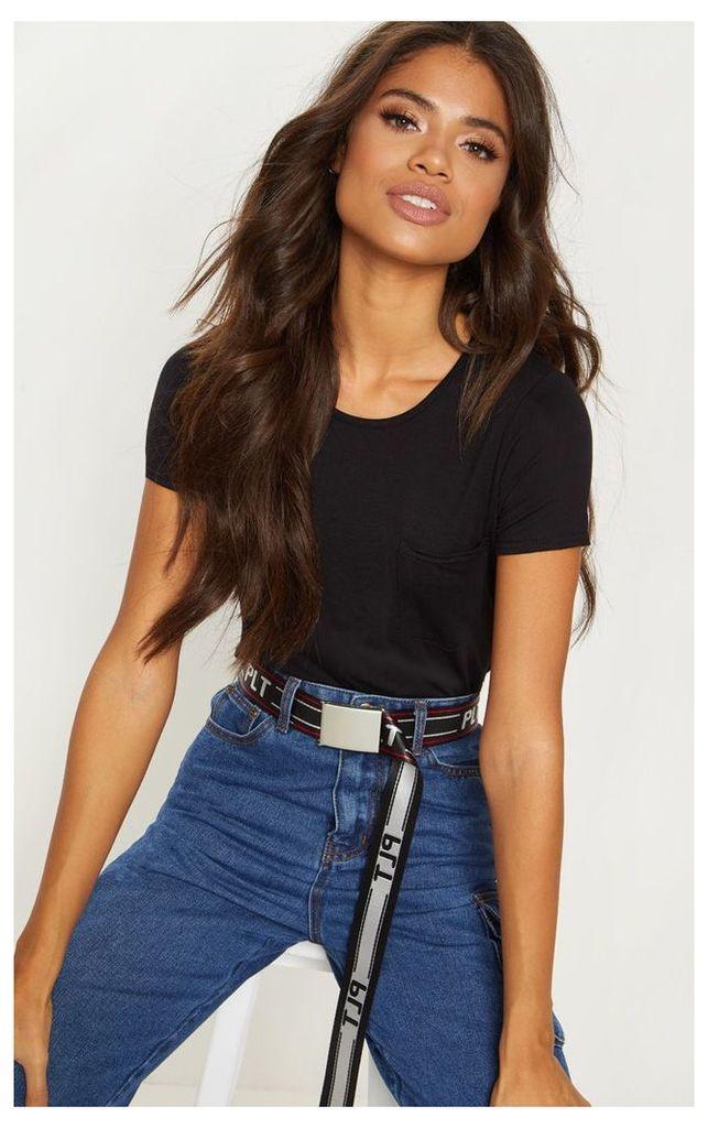 Black Jersey Pocket Detail T Shirt, Black