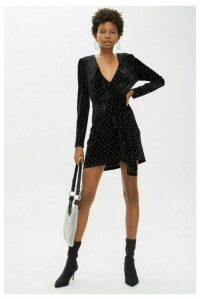 Womens Stud Velvet Frill Dress - Black, Black