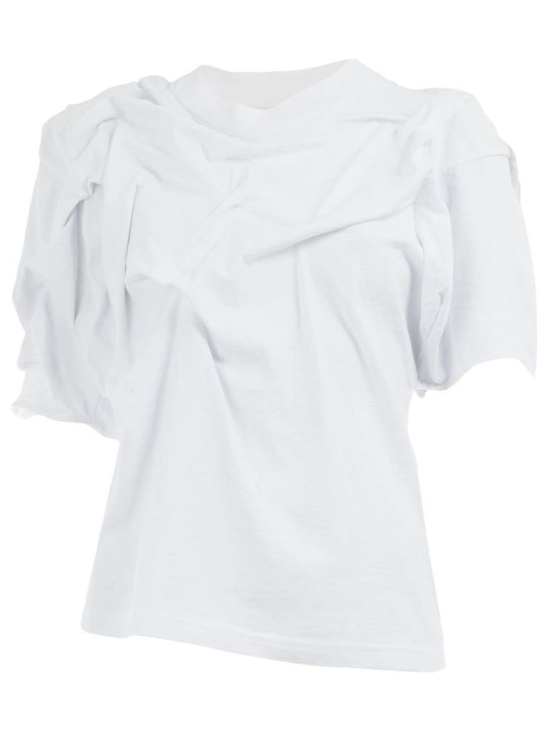 Aganovich asymmetric ruched T-shirt - White