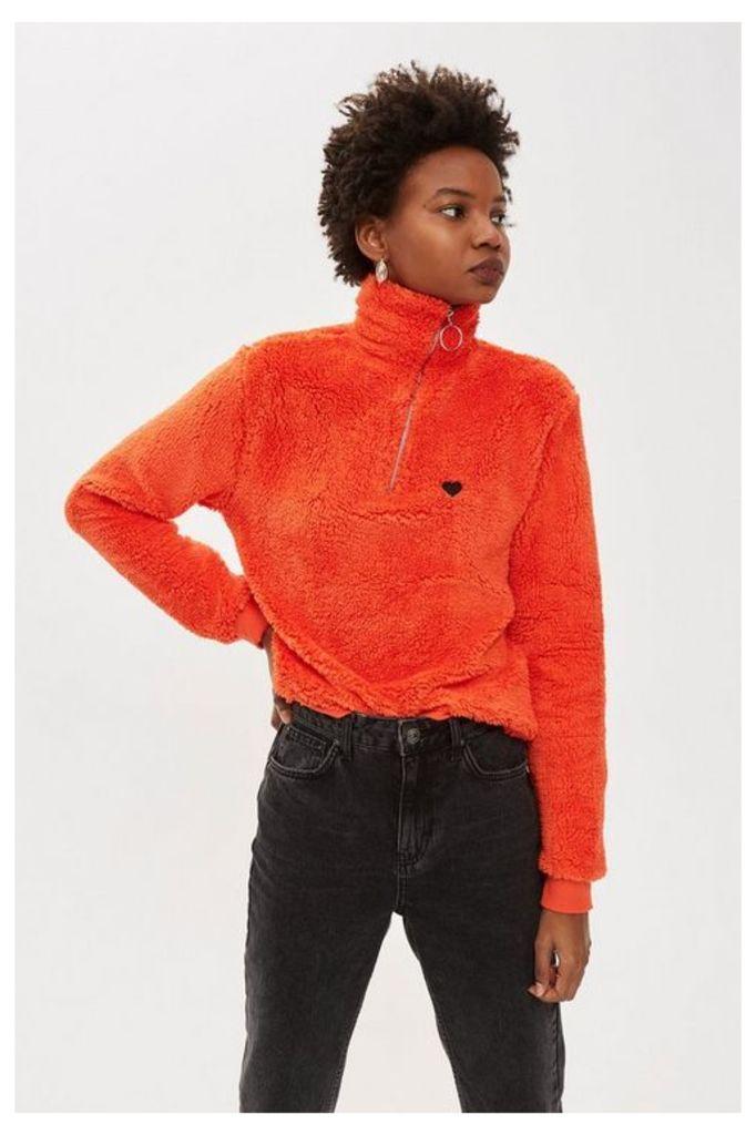 Womens Borg Heart Zip Funnel Sweatshirt - Red, Red