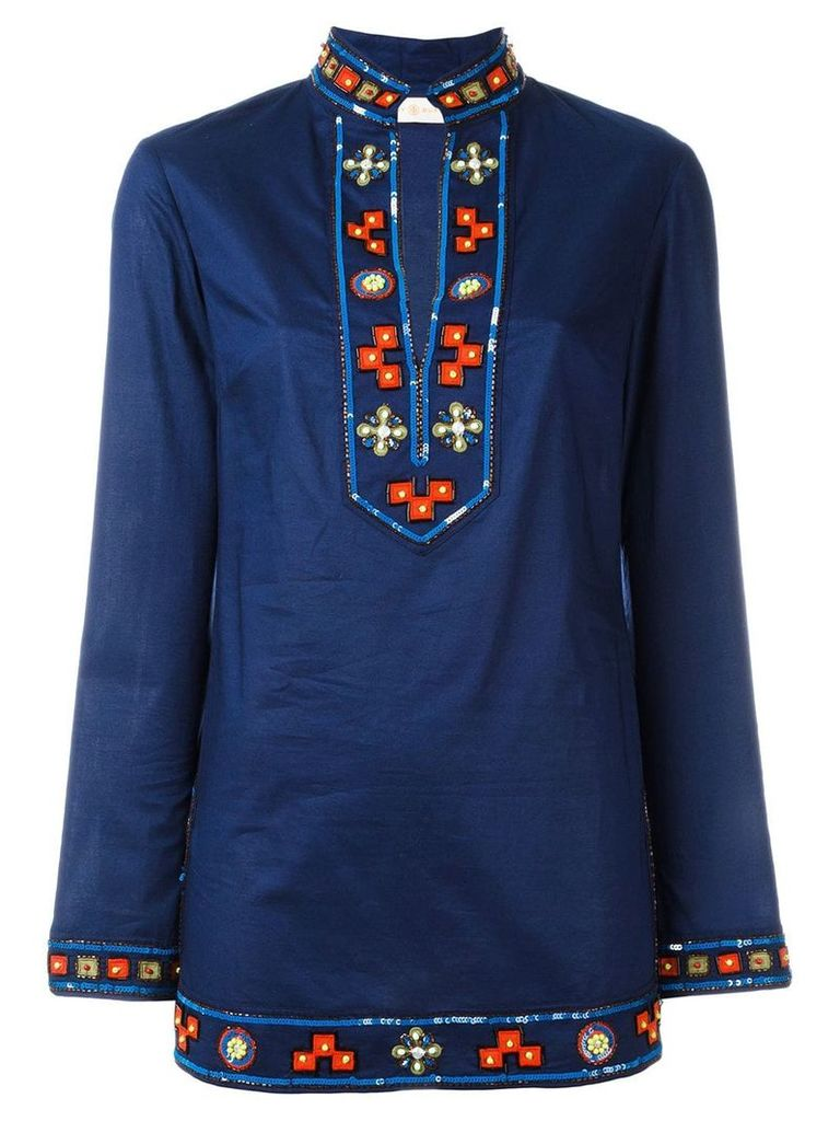Tory Burch embroidered open neck top - Blue