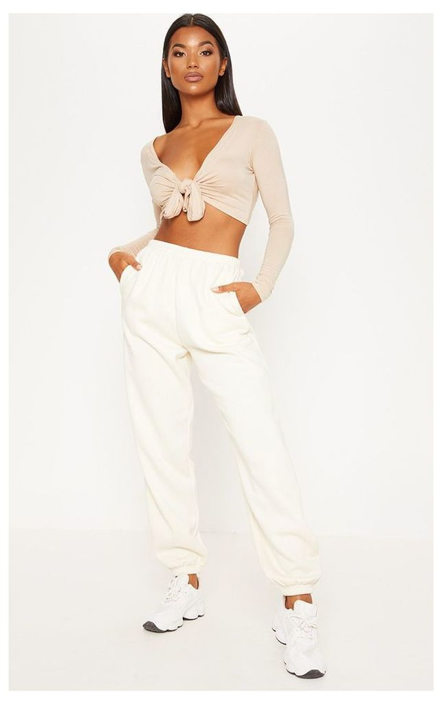 Stone Long Sleeve Tie Front Crop Top, White