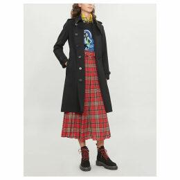 Burberry Womens Black Check Kensington Cashmere Coat