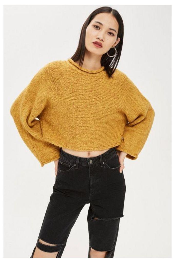 Womens Cropped Jumper - Mustard, Mustard