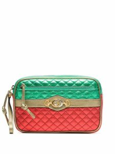 Gucci red and green leather mini quilted stripe bag - Multicolour
