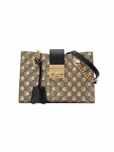 Gucci Padlock small GG bees shoulder bag - Neutrals