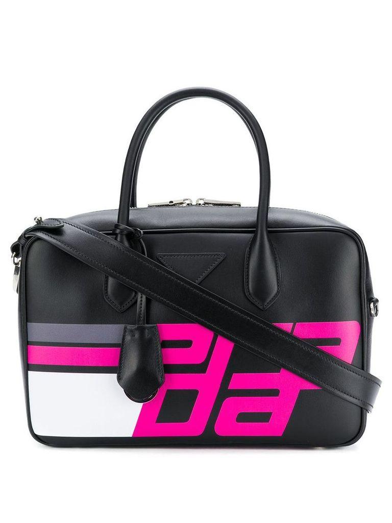 Prada logo print top handle bag - Black