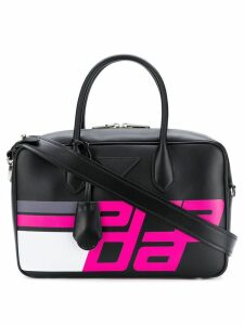 Prada logo print top handle bag - Black