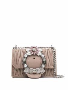 Miu Miu embellished matelassé shoulder bag - Pink