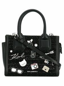 Karl Lagerfeld plaque detail shoulder bag - Black