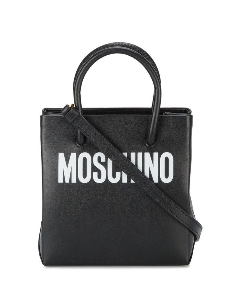 Moschino Black logo print leather tote bag