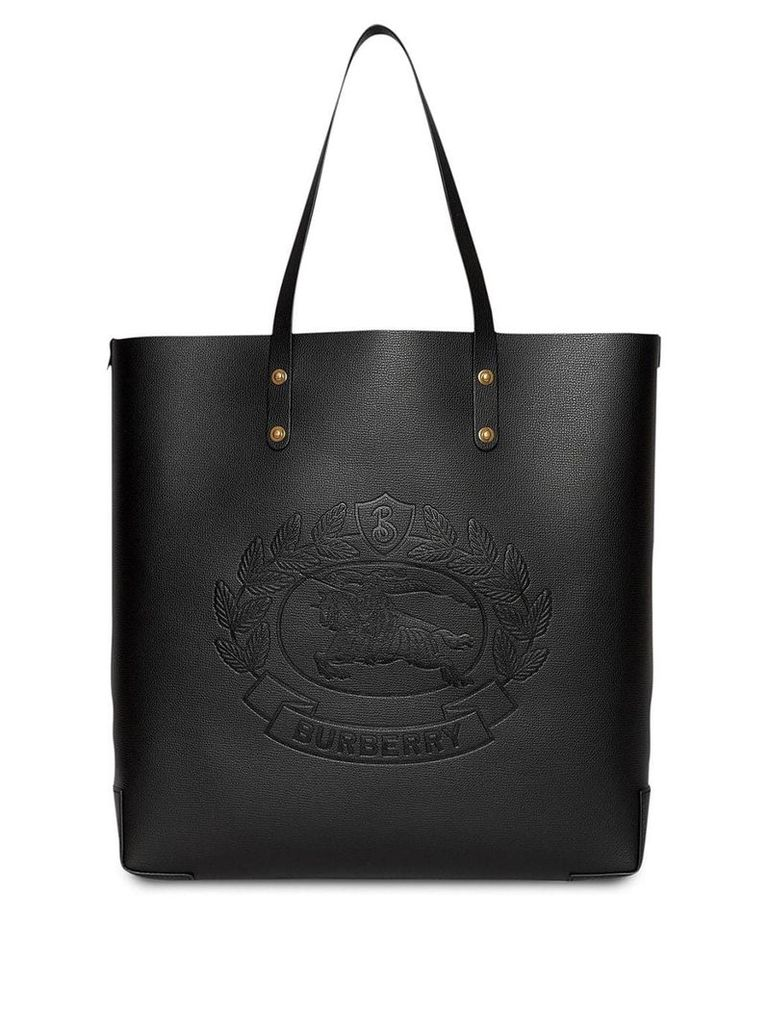 Burberry Embossed Crest Leather Tote - Black