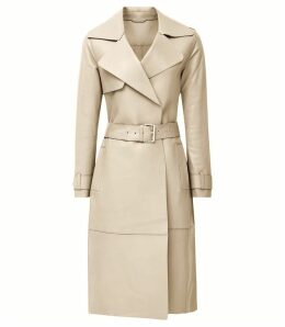 Reiss Roma - Leather Mac in Neutral, Womens, Size 14