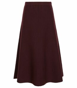 Reiss Amy - Fluted Hem Skirt in Berry, Womens, Size L