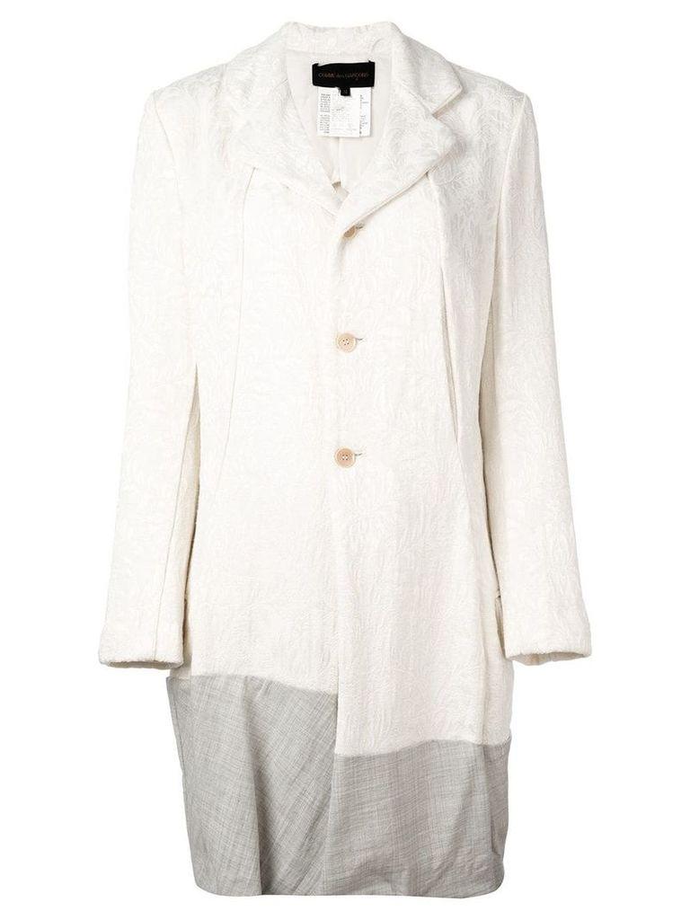 Comme Des Garçons Vintage contrast hem jacquard coat - Neutrals