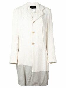 Comme Des Garçons Pre-Owned contrast hem jacquard coat - Neutrals