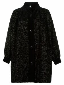 Yves Saint Laurent Pre-Owned floral embroidered coat - Black