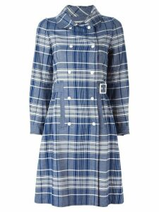 Courrèges Pre-Owned checked trench coat - Blue