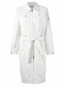 Yves Saint Laurent Pre-Owned zipped up trench coat - White