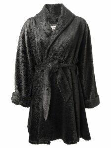 Lanvin Pre-Owned faux fur belted coat - Grey