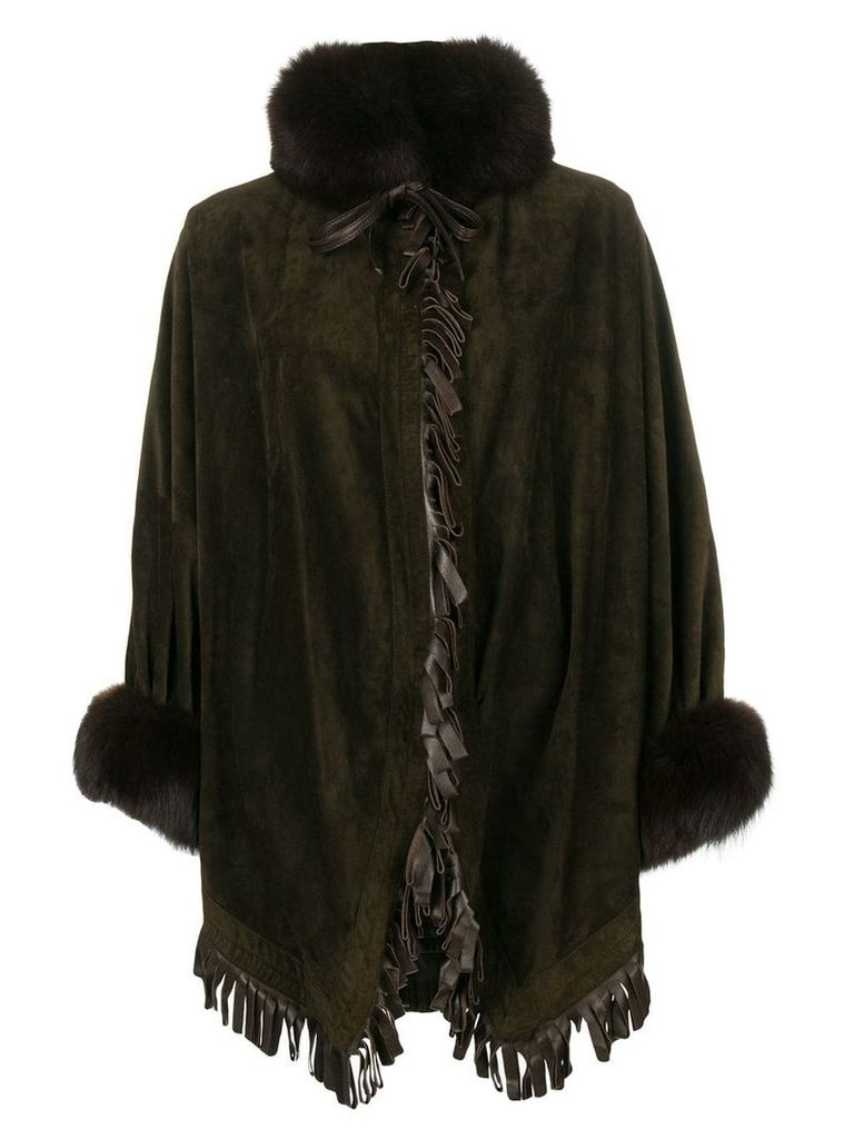 Christian Dior Vintage oversized fringe coat - Brown