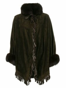 CHRISTIAN DIOR PRE-OWNED oversized fringe coat - Brown