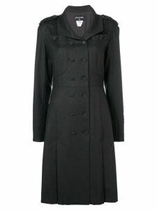 Chanel Pre-Owned box pleats flared coat - Black
