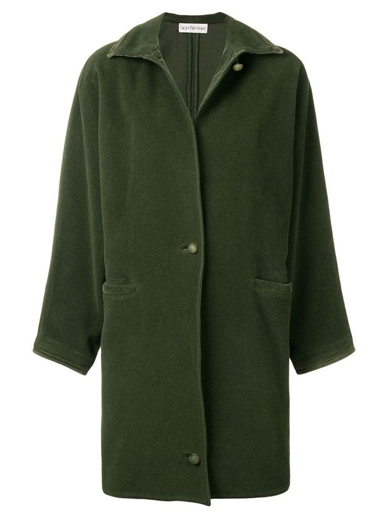 Versace Vintage 1980's straight midi coat - Green